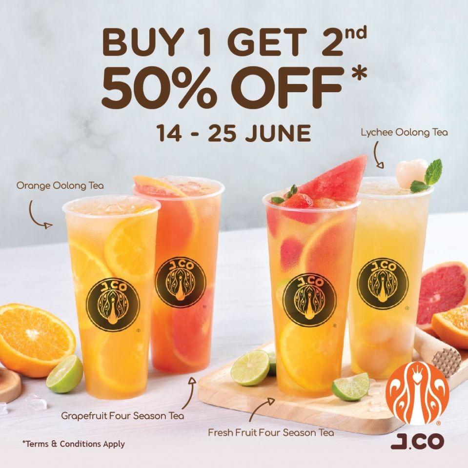 Beli 1 Yang Ke 2 Diskon 50% Salah Satu Teh Buah J.CO Donuts & Coffee Hong Kong s/d 25 Juni 2021